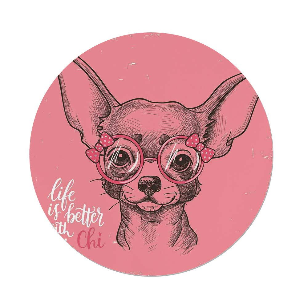 iPrint Polyester Round Tablecloth,Dog,Girl Chihuahua Sketch Illustration Quote Fashion Glasses Ribbons Puppy Decorative,Pale Pink Army Green,Dining Room Kitchen Picnic Table Cloth Cover Outdoor Ind