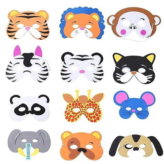 Rmeet Máscaras de Espuma Niños,12 Pack Máscaras de Animales Infantil Mascarillas de EVA para Fiesta Cumpleaños Navidad Halloween