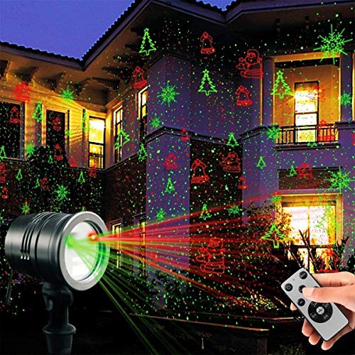 Laser Decorative Lights Garden Laser Light Projector + Remote Control Indoor Outdoor Decorations 5W Light Show (Green, Red, Cola, Bell) for Halloween, Christmas, Party, Holiday etc.]()
