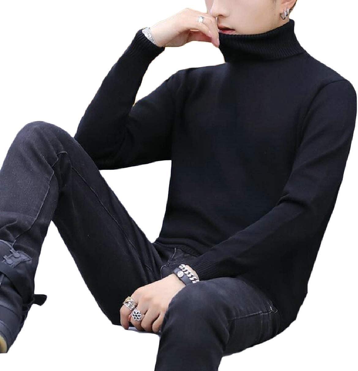 CBTLVSN Mens Long Sleeve Warm Knitwear Solid Pullover Turtleneck Sweater