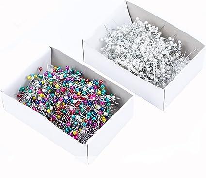 Spilli con testine in vetro multicolore in scatola da 800 white