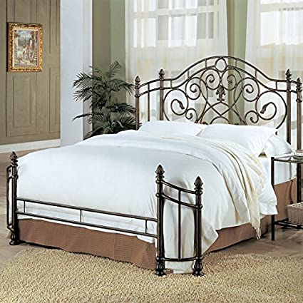 Amazon.com - Coaster Queen Size Antique Gold Finish Metal Bed ...