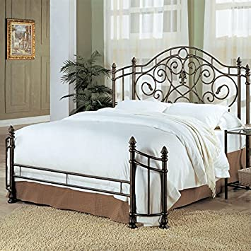 coaster queen size antique gold finish metal bed headboard u0026 footboard