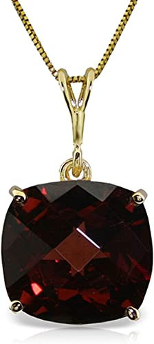 ALARRI 14K Solid Rose Gold Necklace w// Checkerboard Cut Garnets with 18 Inch Chain Length