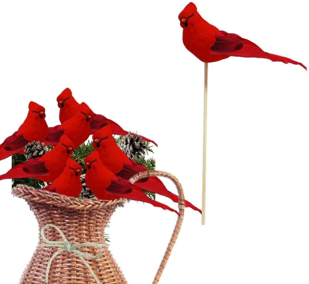 BANBERRY DESIGNS Cardinal Floral Picks - Red Cardinal Birds on a Wooden Stick - Set of 12 Birds Attached to Stems - Red Birds Centerpieces - Christmas DIY - Ornament Holiday Décor - 5 Inches