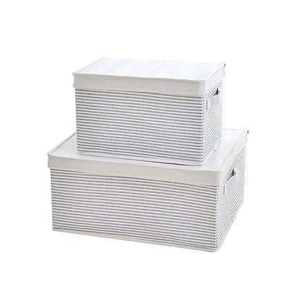 SHOUNAHE Cajas De Almacenamiento - Juego De 2, Plegable Caja De Almacenaje Caja De Almacenamiento