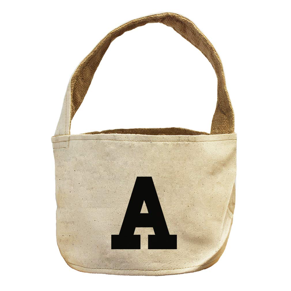 Style in Print A College Font Monogram Letter A Canvas and Burlap Storage Basket