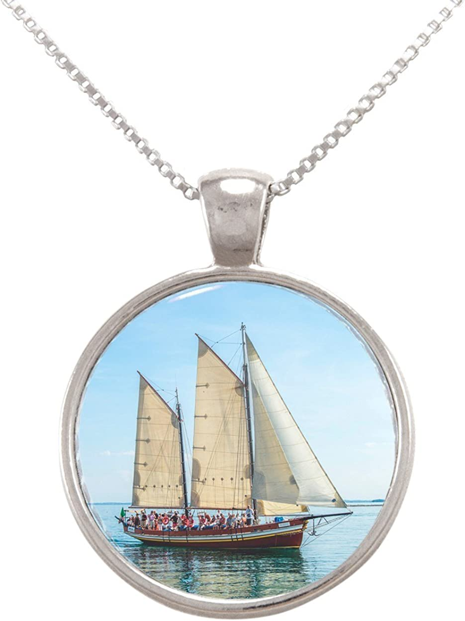 Arthwick Store Photograph of a Sail Boat on The Sea Pendant Necklace