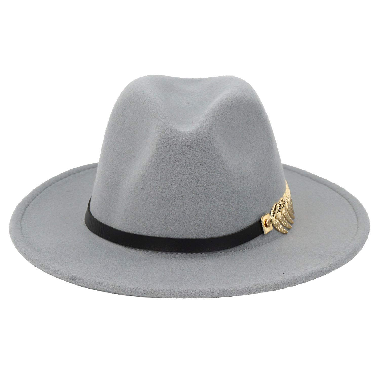 B.J. Women's Wide Brim Wool Floppy Panama Hat with Belt Buckle Fedora Hat Grey by B.J. (Image #3)
