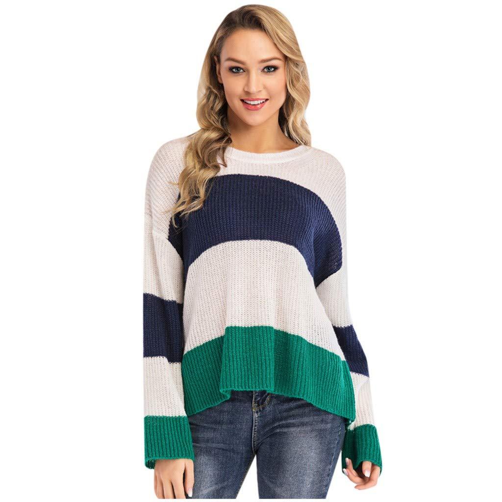 Yezijin Fashion Women Long Sleeve Striped Round Neck Blouse Top Casual Loose Sweatshirt 2019 Under 10 by Yezijin Long Sleeve Tops