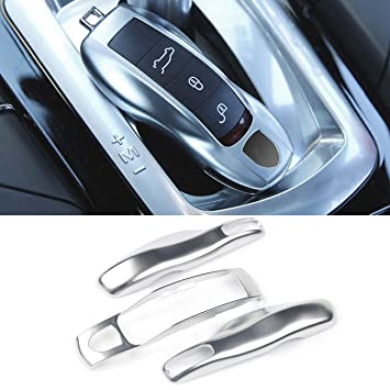 3PCS Remote Key Covers Compatible with Porsche, Jaronx Glossy Silver Key Fob Shell Cover Painted