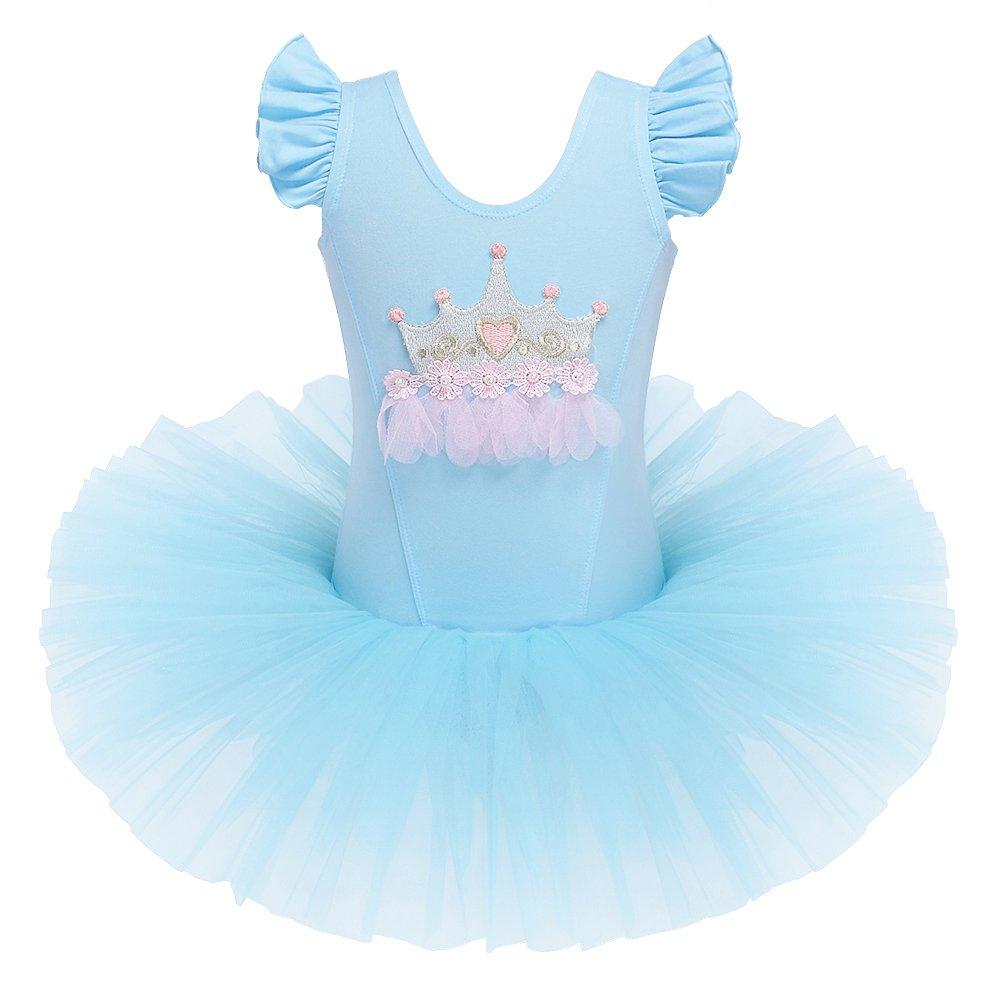 キッズ ワンピース 半袖 キラキララインストーン ダンスコスチューム チュチュバレエドレス 小さな女の子用 38歳 B0746JCJ71 L|Blue-crown Blue-crown L