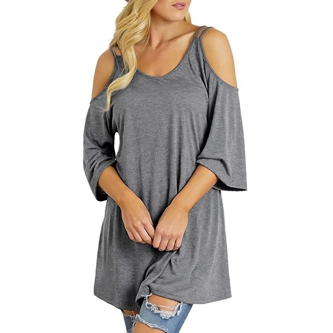 Hffan Damen Tops Bluse Pulli T-shirt Solide Schulterfrei ...
