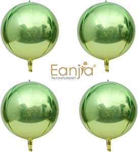 4D FOIL Balloon Hangable Ombre 16in Round Sphere Foil Balloon, Rainbow Mylar Balloon Aluminum Balloon, Wedding Balloons Party Balloons (Apple Green)