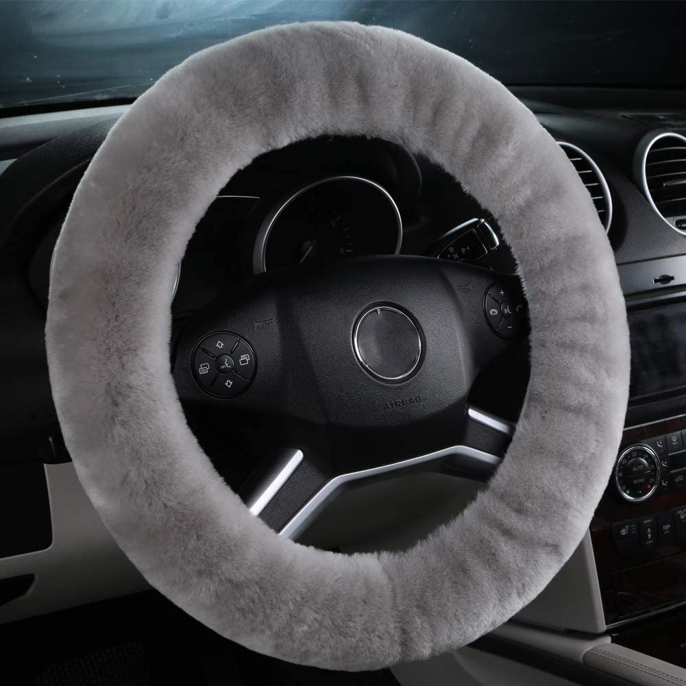 OGLAND Natural Fur Wool Sheepskin Fuzzy Black car Steering Wheel Cover,Protector for Universal Steering Wheel 35CM-42CM Soft Texture Anti-Slip,Comforting and Luxurious Black