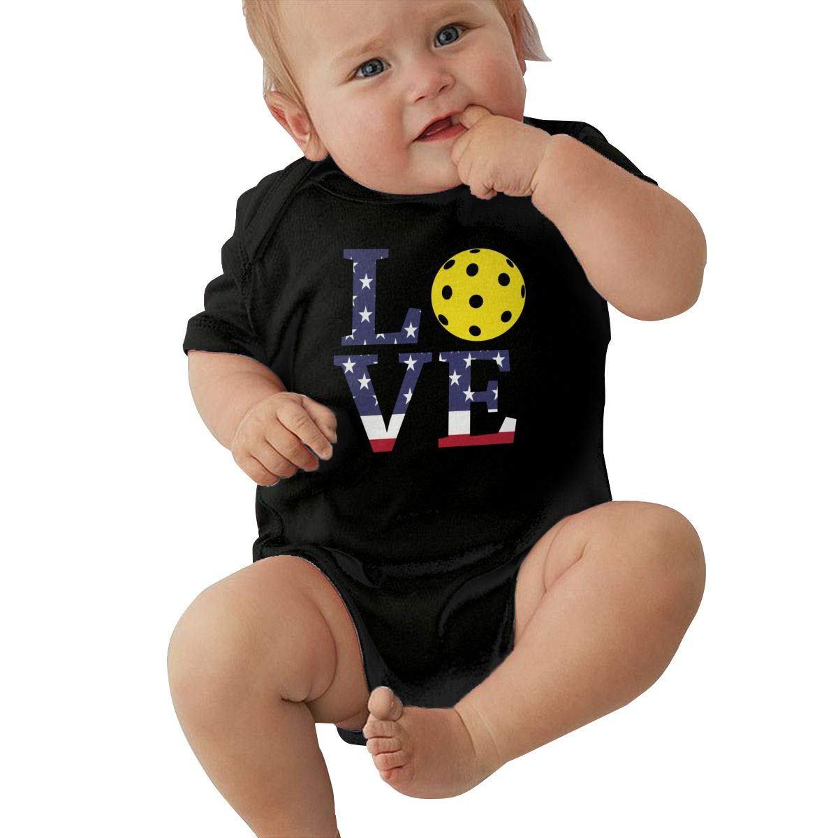 Newborn Baby Girl Boy Love Pickleball USA Flag Outfits Romper Jumpsuit Short Sleeved Bodysuit Tops Clothes