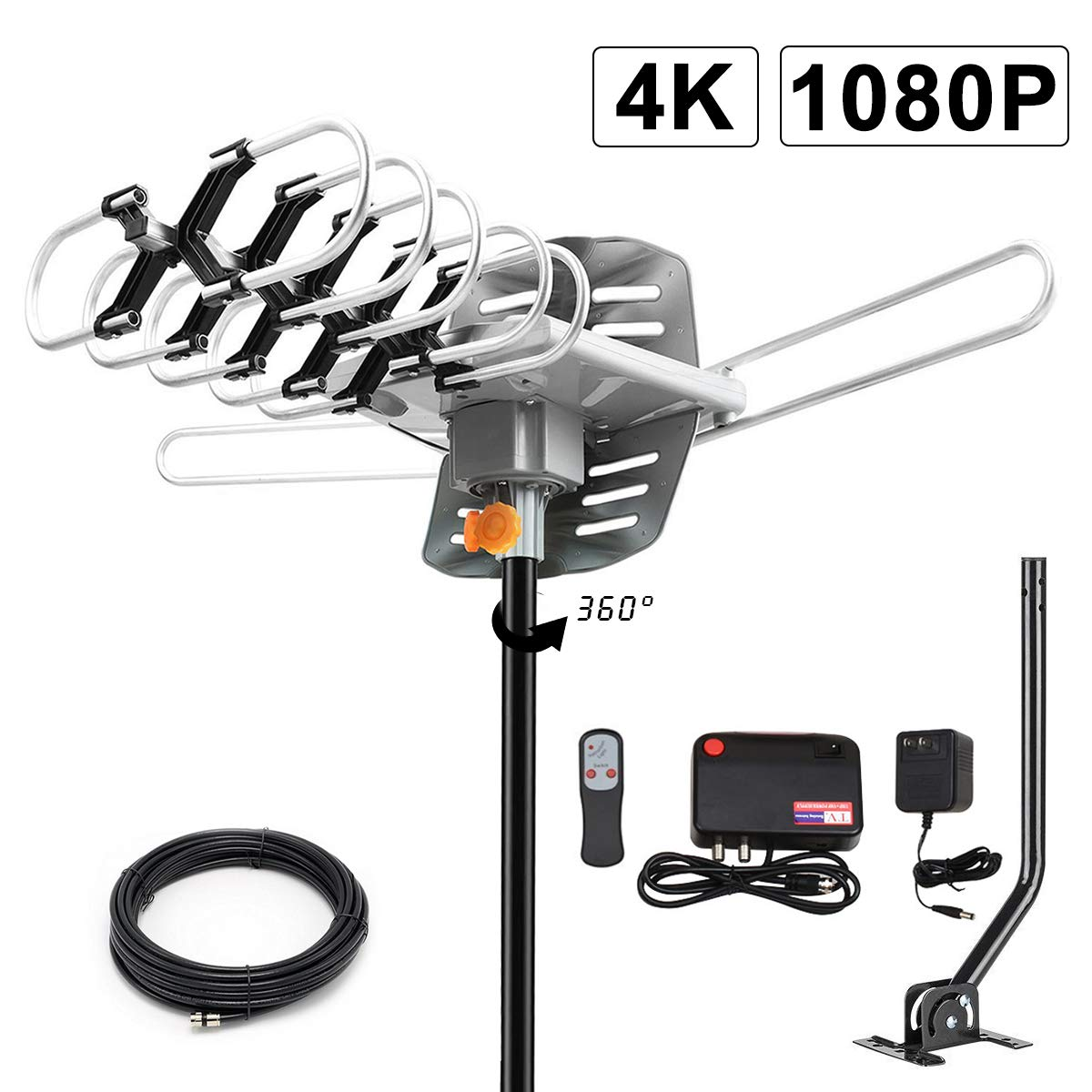 2019 Version HDTV Antenna Amplified Digital Outdoor Antenna -150 Miles Range-360 Degree Rotation Wireless Remote-Snap- Wireless Remote Control - UHF/VHF 4K 1080P Channels- On Installation Support 2 TV by BEFORE