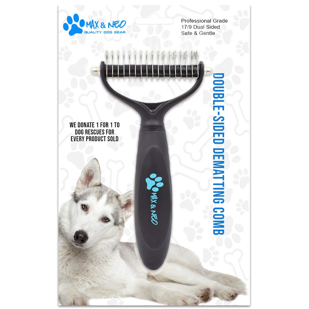 Max and Neo 2 Sided Undercoat Rake Dog Dematting Comb - We Donate One for One to Dog Rescues for Every Product Sold