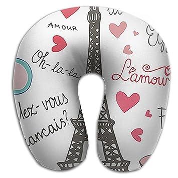Cómoda almohada de viaje almohada cervical, Master, París símbolos letras de una forma de
