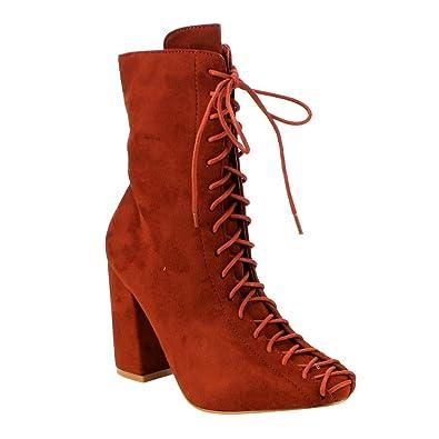 Women Zipper Lace Block Heels Ankle Boots
