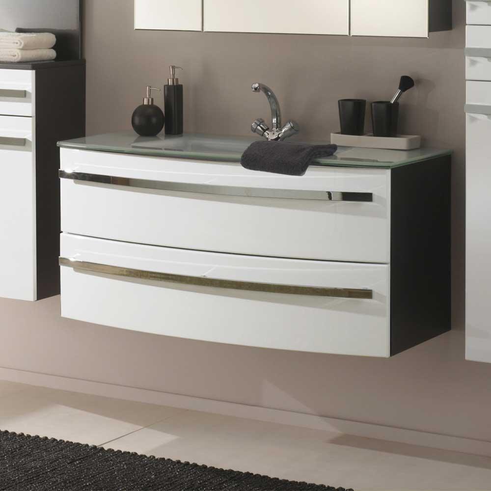 Waschtischunterschrank mit Glaswaschtbecken Hochglanz Weiß Pharao24