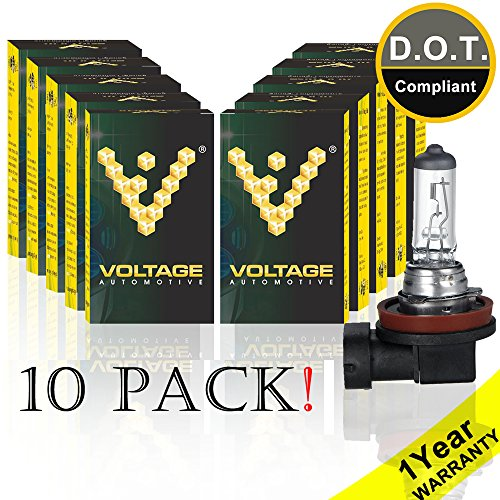 Voltage Automotive H11 Standard Headlight Bulb (10 Pack) - OEM Replacement Halogen High Beam Low Beam Fog Lights Driving Lights