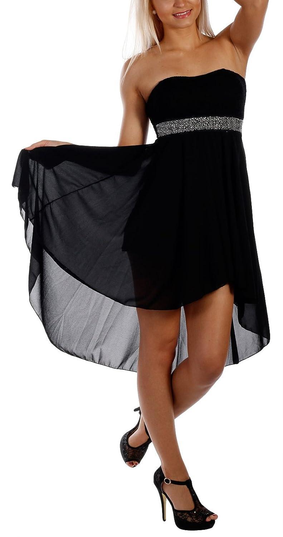 Damen Cocktailkleid Bandeau mit Spitze, Sommerpartykleid, VokuHila Chiffon, Abschlussballkleid Strandpartykleid, Einheitsgröße 34-38 viele Farben
