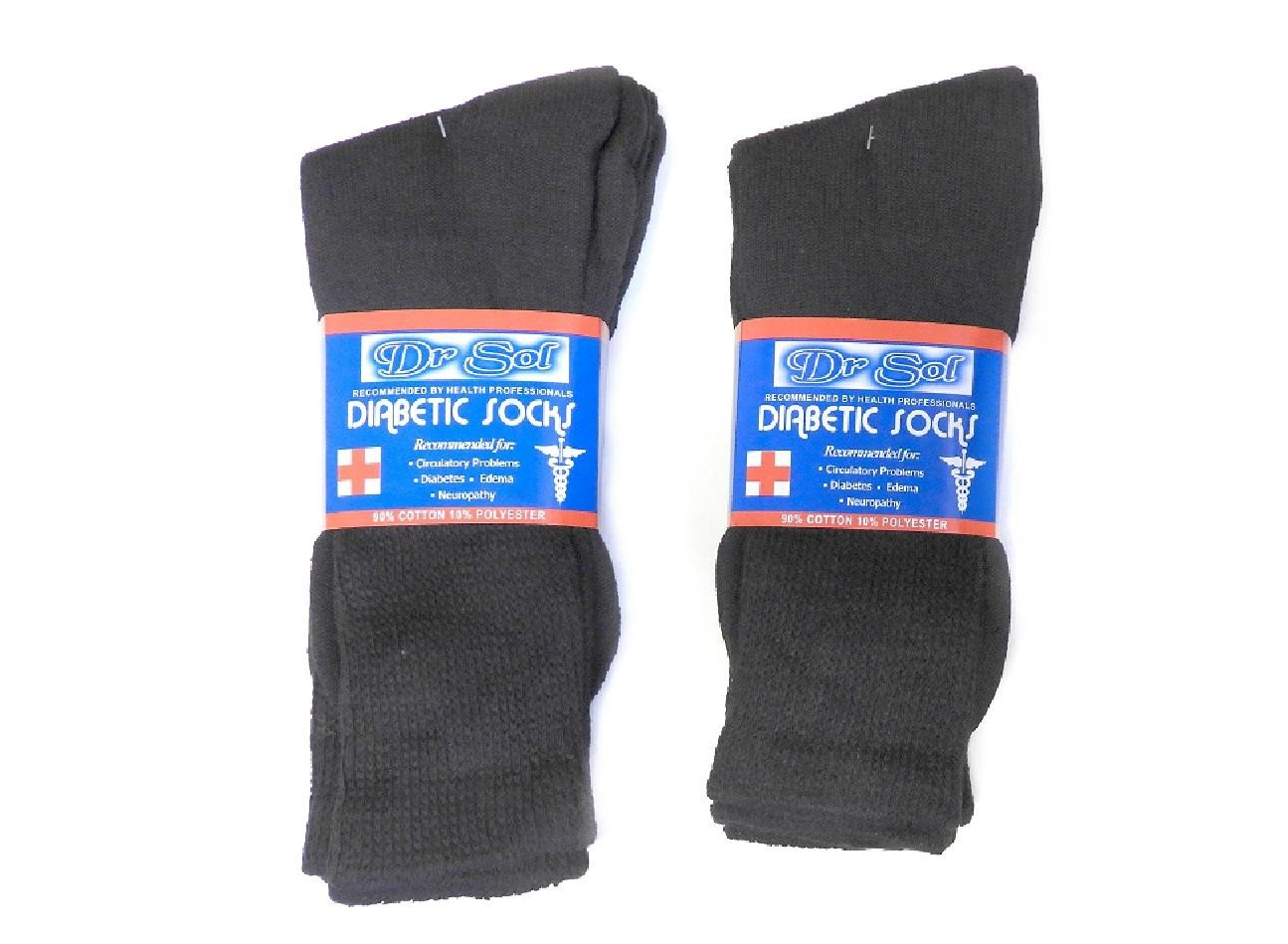 6 Pair 90% Cotton Blend Diabetic Socks Men's Women's The Choice of Health Professionals (Ladies 9-11)