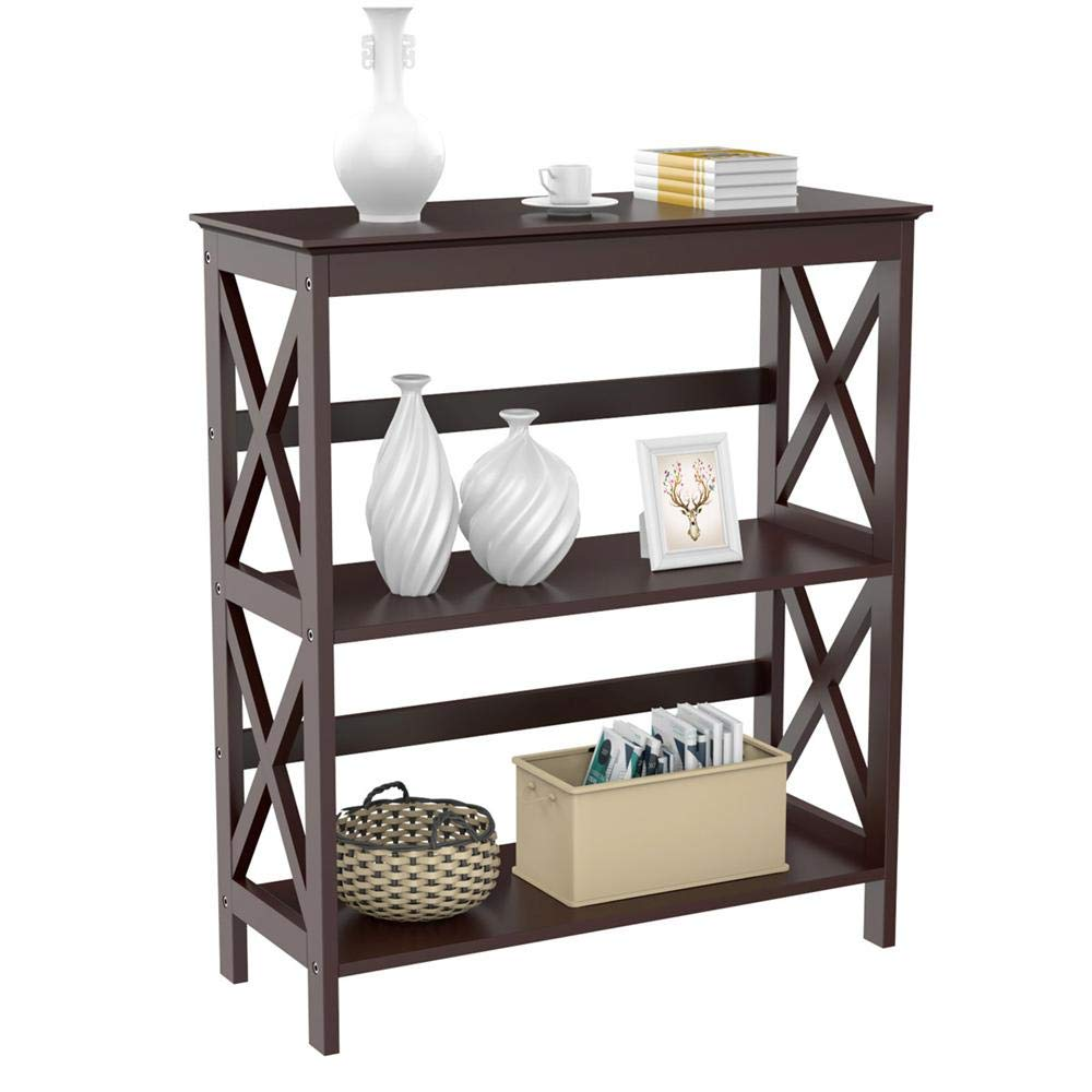 Yaheetech 3 Tier Espresso Finish Wood Entryway Table Bookcase Bookshelf Display Rack Stand Storage Shelving Unit by Yaheetech