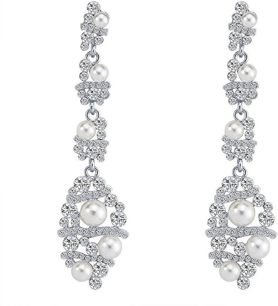Pendientes Pendientes largos Sección larga Pendientes de diamantes de imitación Pendientes de borla Pendientes de aleación de perlas Pendientes de novia