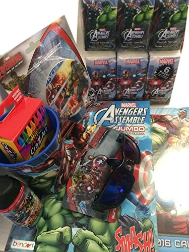 Marvel Avengers Bundle Sunglasses, Calendar, Light, Body Wash, Tissues, Crayons (Tissue Crayons)