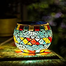 Solar Mosaic Table Lights Kinna 2 Pack Solar Glass Ball Table Lamp Waterproof for Home, Garden, Patio Decoration Warm White