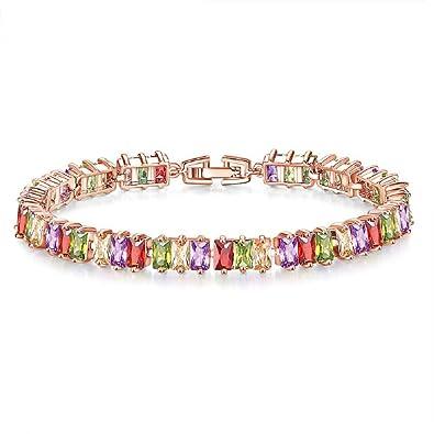 Yazilind Buckle Bracelet Rose Gold Plated Beautiful Color Zircon Leaves For Women Girls Party Jewellery 7jK8YDEQkK
