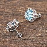 NOVICA Blue Topaz .925 Rhodium Plated Silver Button