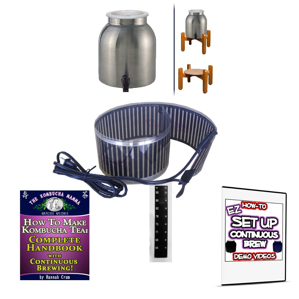 KKamp Continuous Brew Kombucha BREWER ONLY - Stainless Steel w/ Wood Stand + Essential Heat Strip