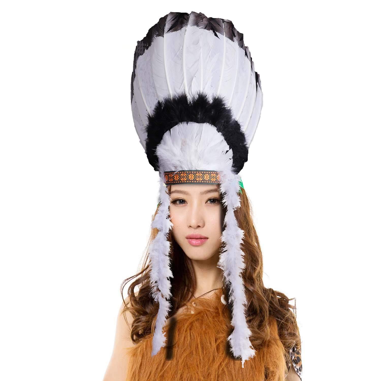 cf7a3b7fac Amazon.com: Unisex Adults Kids Native American Feather Headdress Women  Girls Halloween Carnival Festival Costume Headwear Fancy Dress Party  Cosplay Indian ...