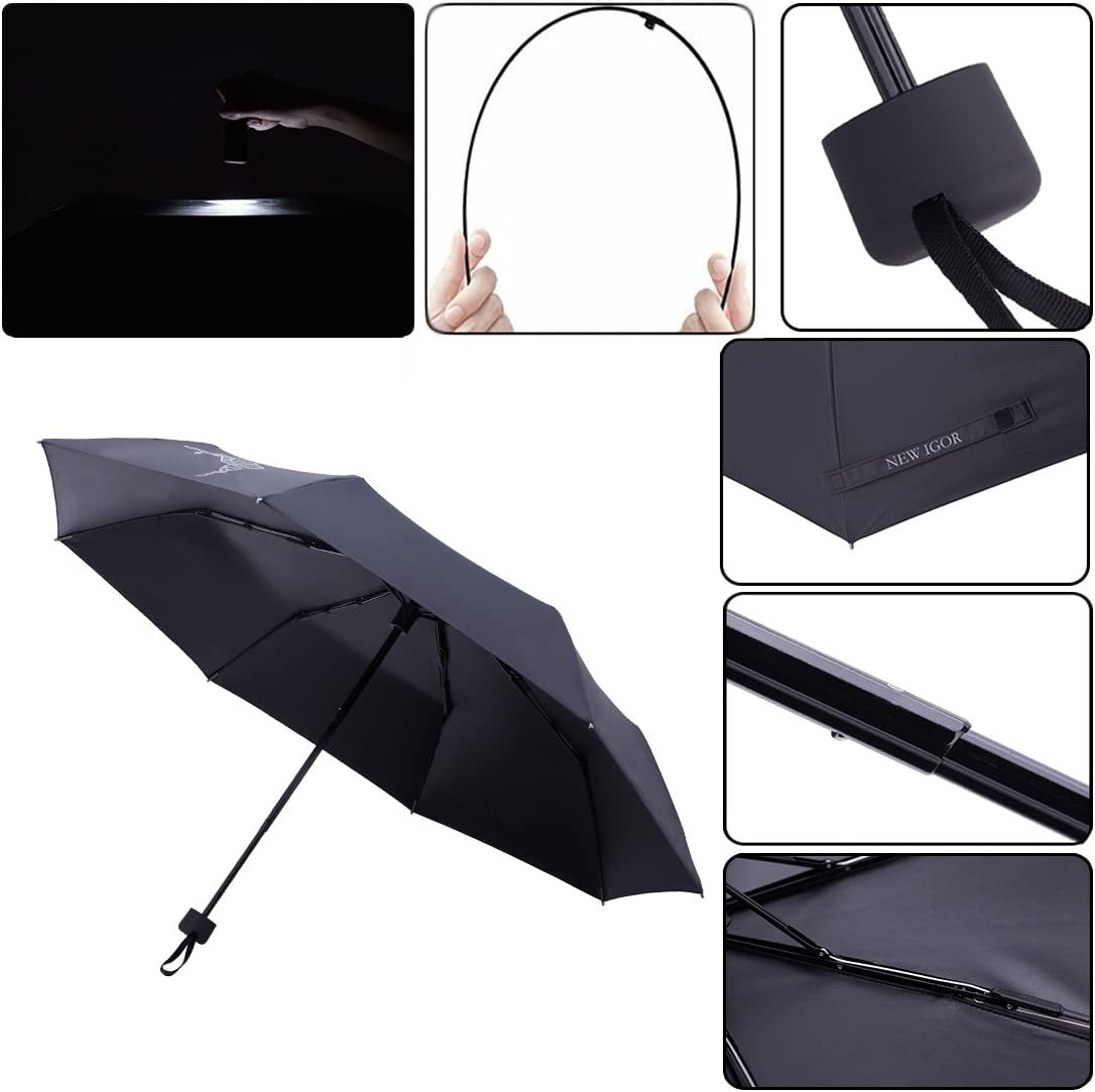 NEWIGOR Compact Windproof Travel Umbrella Sun/&Rain Lightweights Unbreakable Umbrella with 99/% UV Protection