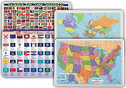 Map Of World Flags.Amazon Com World Map Usa Map Flags Of World Flags Of Us States