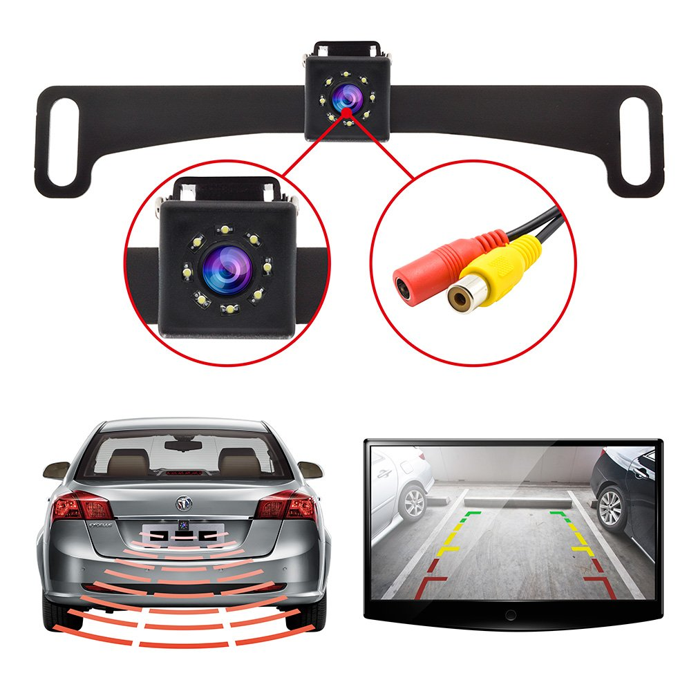 Vehicle Backup Camera License Plate Rear View Camera for Truck /& RV with Night Vision LEDs IP68 Waterproof High Brightness Light Sensor Accfly
