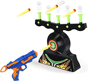 Theefun Electric Shooting Target for Nerf Guns Glow in The Dark Shooting Games for Kids Hover Shot Target Practice Toys for Boys and Girls with 20 Soft Foam Balls, 13 Pcs Darts and 1 Pcs Blaster Gun
