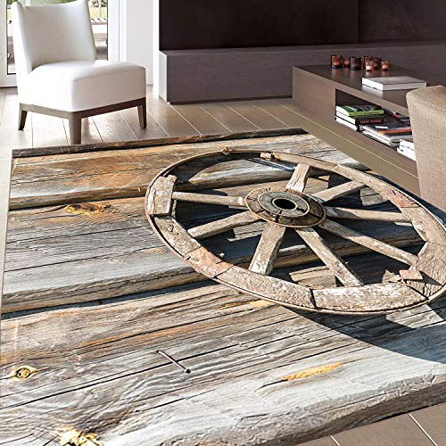 Rug,FloorMatRug,Barn Wood Wagon Wheel,AreaRug,Old Log Wall with Cartwheel Telega Rural Countryside Themed Image,Home mat,4'7