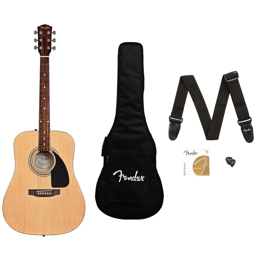 Fender FA-115 Beginner Acoustic Guitar Pack, Dreadnought body style, Natural Finish Fender 0961280021 FA-115 Beginner Acoustic Guitar Pack, Dreadnought body style, Natural Finish