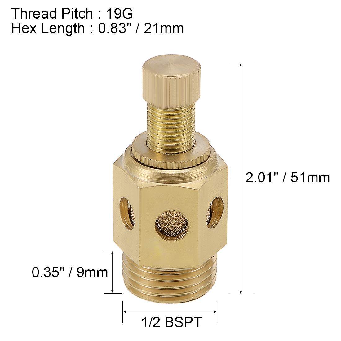 uxcell Top Adjustable Pneumatic Air Exhaust Muffler Copper 3//8 BSPT Gold 2pcs