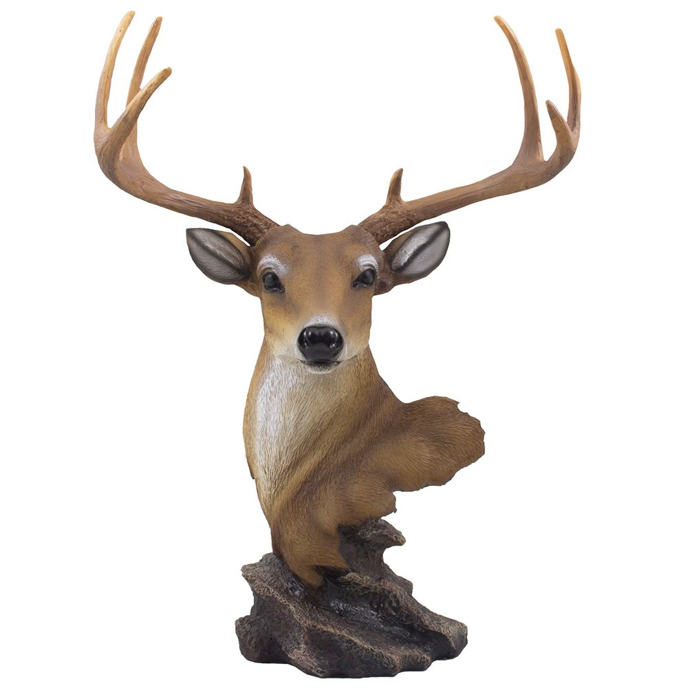 Decorative Buck Bust Statue or Deer Head Sculpture with 8-point Antlers for Rustic Lodge or Hunting Cabin Decor Wildlife Art Display Centerpiece As Gifts for Hunters & Bucks Fans by Home 'n Gifts