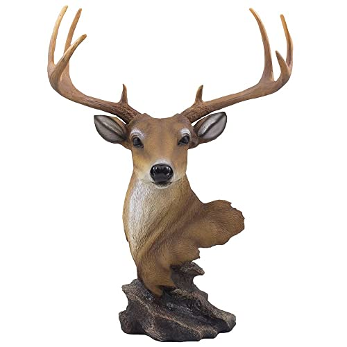 Decorative Buck Bust Statue or Deer Head Sculpture with 8-point Antlers for Rustic Lodge or Hunting Cabin Decor Wildlife Art Display Centerpiece As Gifts for Hunters Bucks Fans