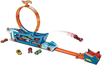Hot Wheels DWN56 Stunt and Go Truck Loop Garage with Diecast and Mini Toy Car