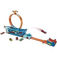 Hot Wheels DWN56 Stunt N Go Transporter und Trackset, 2 in 1 mobiles Auto Spielset mit Looping für 19 Spielzeugautos, ab 4 Jahren