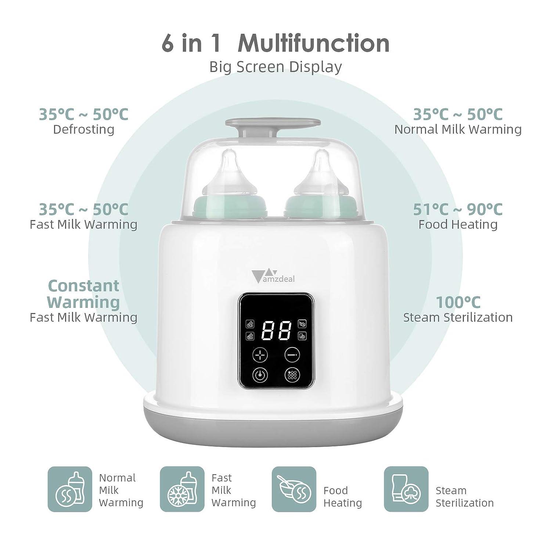 Warmhaltung /& schnelles Auftauen Babykostw/ärmer mit LED Display /& Timer multifunktionaler Sterilisator f/ür Babyflaschen Amzdeal 6 in 1 Flaschenw/ärmer Doppel Flaschen Dampfsterilisator