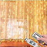 Cortina de Luces LED 3Mx3M 300LEDs, 8 Modos de lluminación, E T EASYTAO Lámparas Decorativas Impermeables para Interior y Ext