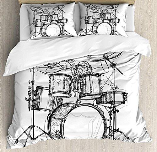 Hostline Rock Music Duvet Cover Set Twin Size, Doodle Drawing Sketch Style Drummer Musical Inspirations Monochrome Arrangement, Decorative 4 Piece Bedding Set with 2 Pillow Shams, Black White